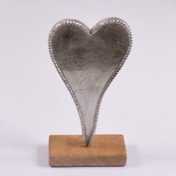Alu-Herz auf Holzstand, verschiedene Größen