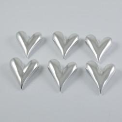 Porzellan-Herz silber 9 cm