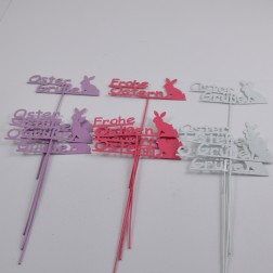 "Stecker ""Ostergruesse"" weiß/violett/rot sort. 20 cm"