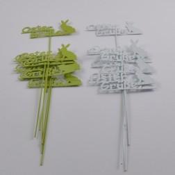 """Stecker """"Ostergruesse"""" grün/weiß sort. 20 cm"""
