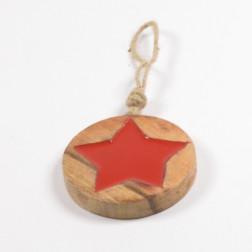 Holzsternhaenger rund, rot, verschiedene Größen