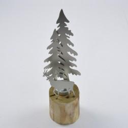 Edelstahl-Baum auf Holzfuss