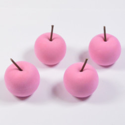 Apfel beflockt, hellrosa, verschiedene Größen