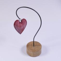 Herz Kessi auf Holzfuss, erika