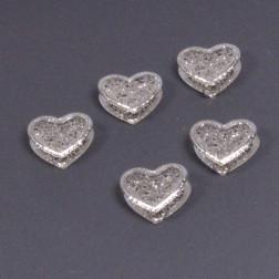 Metall-Herz Diamo 3D, 4 cm silber