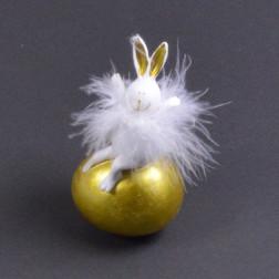 Pol-Hase auf Ei, 14 cm gold sort.