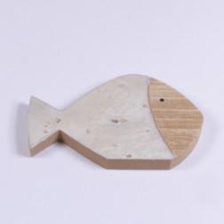 Holz Fisch, 18 cm weiss/gold/natur,